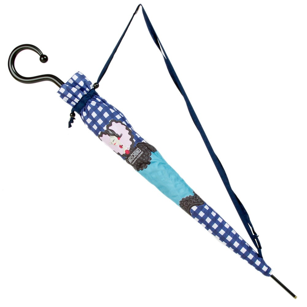 Зонт-трость Moschino Olivia Queen of Hearts long Light Blue