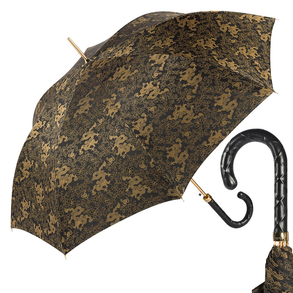 Зонт-трость Pasotti Black Feng Shui Pelle Rombo