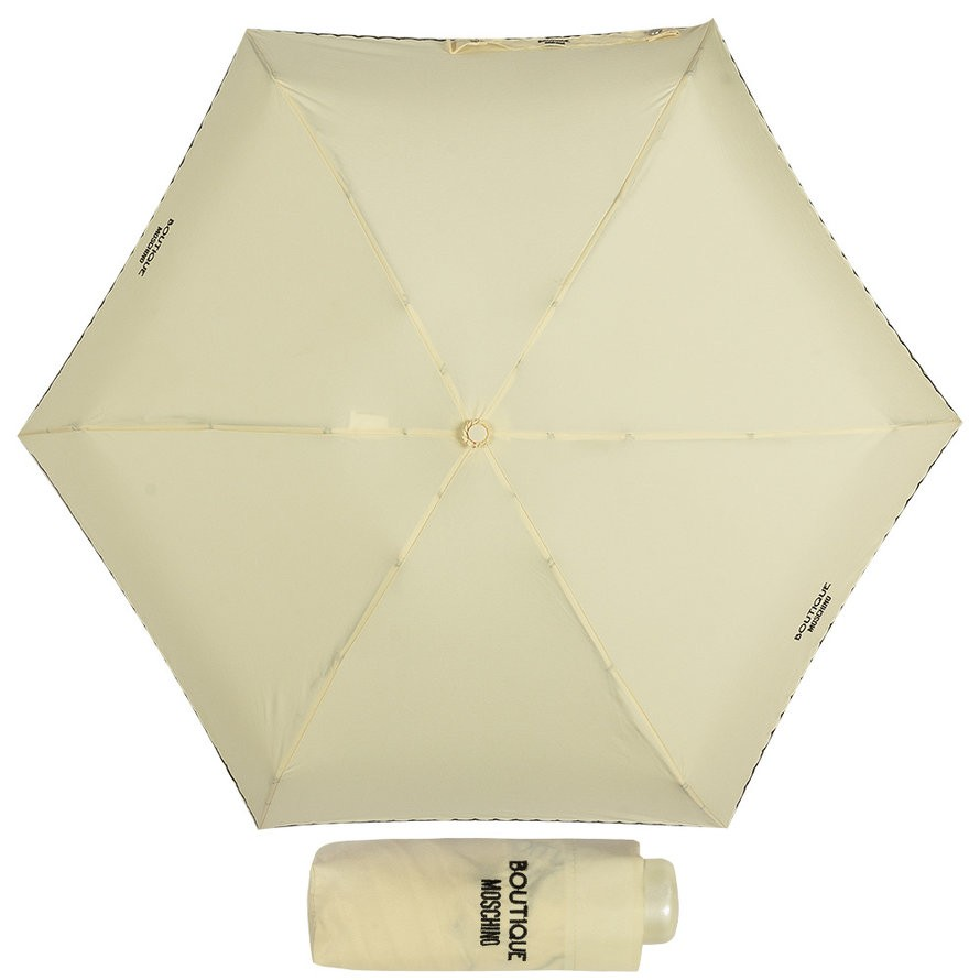 Зонт складной Moschino 7000-SuperminiI Embroidery Heart Case Cream