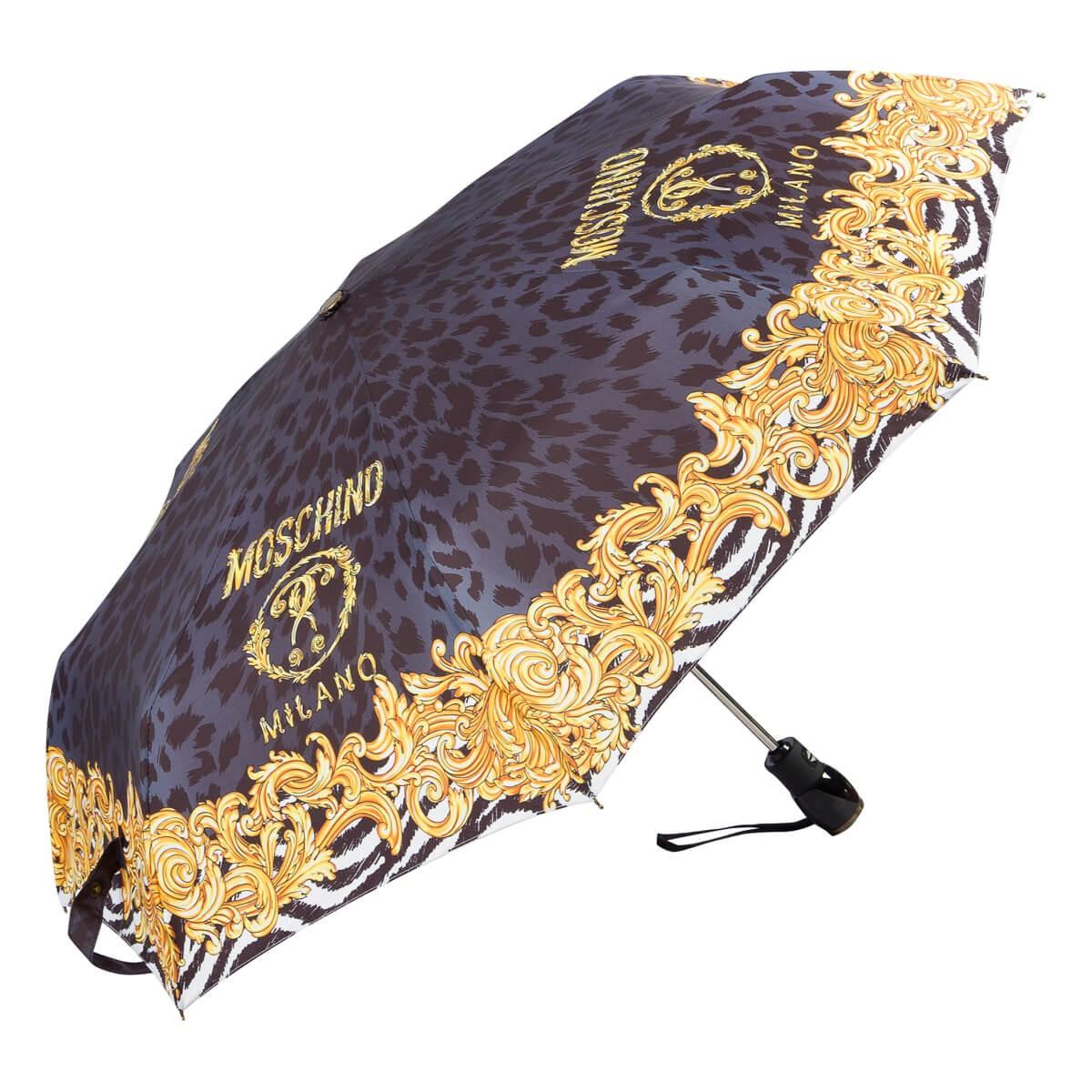 Зонт складной Moschino 8009-OCA Logo animalier Black